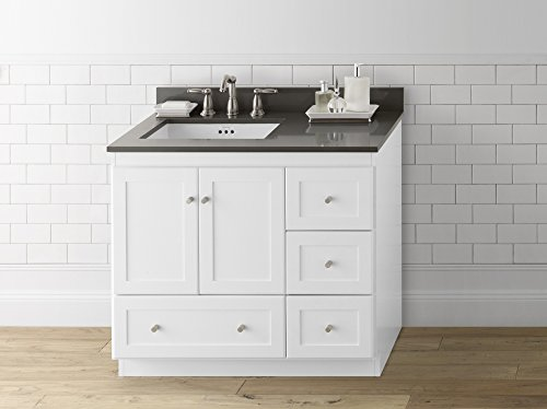 - RONBOW Shaker 36 Inch Bathroom Vanity Base Cabinet with Soft Close Wood Door, Left Cabinet Drawer and Adjustable Shelf in White 081936-3L-W01