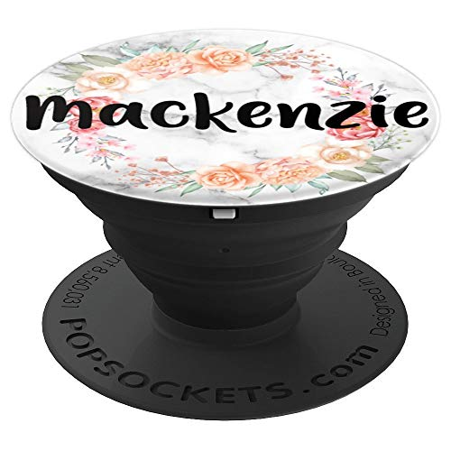 Mackenzie Lucy Name Personalized Monogram Pink Floral Marble - PopSockets Grip and Stand for Phones and Tablets