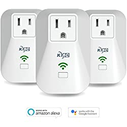 KMC WiFi Smart Plug Mini Outlet(3 Pack),Timing Switch Energy Monitoring Smart Socket,No Hub Required,Remote Control Light Switch,Works with Amazon Alexa
