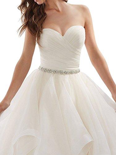 APXPF Women's Organza Ruffles Ball Gown Wedding Dresses Bride Dress White US2 by APXPF (Image #2)