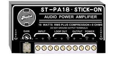 RDL ST-PA18 Audio Power Amplifier 18 Watts RMS, 8 Ohms, Line Level Balanced or Unbalanced Input - Power Supply Included
