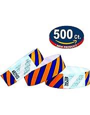 Tyvek Pulseras - A rayas - 500 unidades - Azul-Naranja neón - Tyvek pulseras para eventos