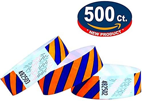 "500 3//4/"" NEON ORANGE PAPER WRISTBANDS WRISTBANDS FOR EVENTS TYVEK WRISTBANDS"