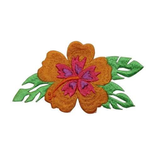 ID 6389 Orange Hibiscus Patch Exotic Flower Hawaiian Embroidered IronOn Applique for Accessories - Bags/Purses, Apparel - Coat/Jacket, Apparel - Jeans/Pants, Children, Crafts by SayrusPlay (Jeans Pants Ribbon)