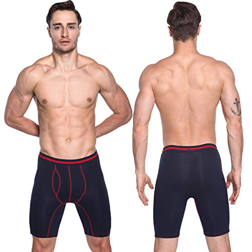 Pack nero vêtements Hommes Caleçons Long 3 Stretch 4 grau blu Et Coton Boxers Sports Nuofengkudu Pack Brief Lot Underpants Doux Culotte Sous De SxwdqHRq