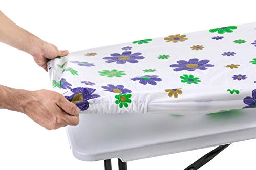 Tablecloth for Folding Table -Fitted Rectangular Table Cloth for 6 Foot - Size 32 x 72 inch - (180 x 75 cm) Plastic Vinyl Flannel Backed with Elastic Rim- for Christmas|Parties (Flowers)]()