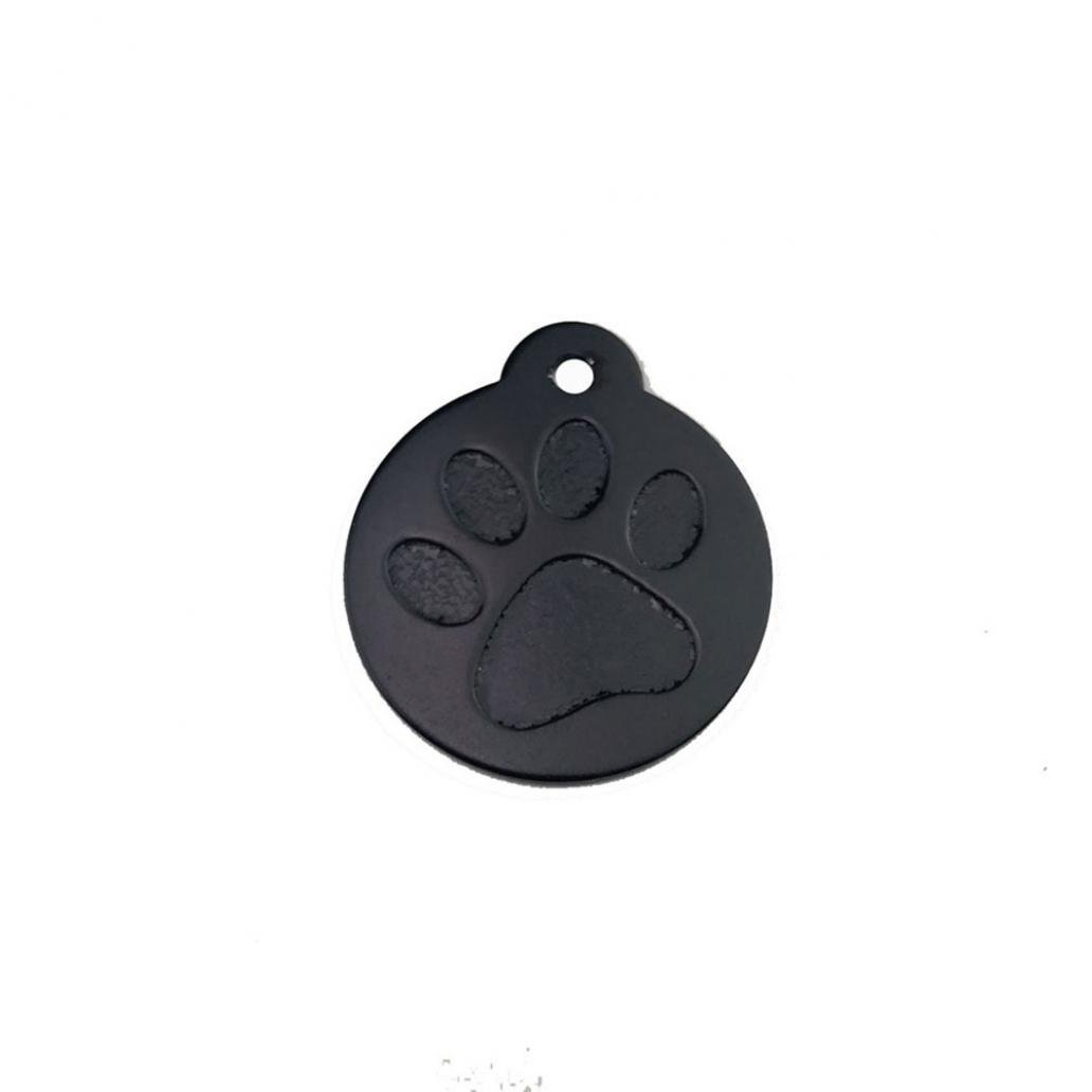 hwangli Lovely Alloy Footprint Round Shape Pet Dog Cat Tag Collar Pendant Accessories - Black
