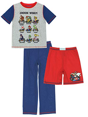 Komar Super Mario Kart Boys 3 Piece Shorts Pants Pajamas Set (Large (10-12), Red/Blue) ()