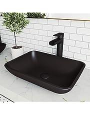 "VIGO VG07110 13.0"" -18.13"" W -4.0"" H Sottile Handmade Rectangular MatteShell Glass Bathroom Vessel Sink in Black Finish"
