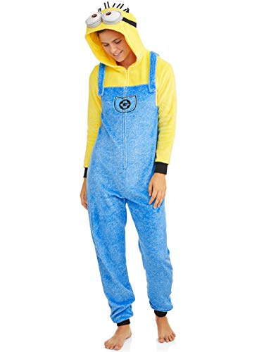 Despicable Me Womens Minion Pajamas Union Suit Hooded Costume Lounge (Large 12-14)