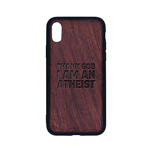 Atheism Anti Religion Funny Richard Dawkins - iPhone Xs CASE - Rosewood Premium Slim & Lightweight Traveler Wooden Protective Phone CASE - Unique, Stylish & ECO-Friendly - Designed for iPhone Xs ()