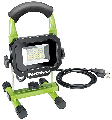 PowerSmith PWL1118BS 1800 lm LED Portable Work Light with Metal Stand, 5 Ft Power Cord and Cushioned Handle