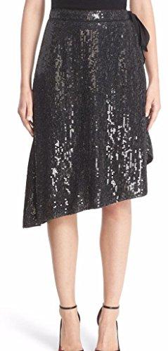 Diane von Furstenberg Brenndah Charcoal Sequin Wrap Silk Skirt Size 8