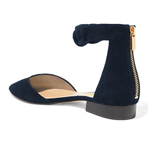 FSJ Women Classic Pointy Toe Ankle Strap DOrsay Flats Zipper Comfortable Walking Shoes Size 4-15 US Navy A3cwEWjOM