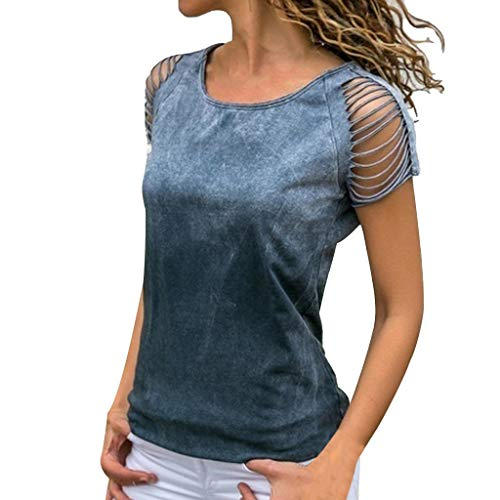 Womens Sexy O-Neck Cut Out Crop Short Sleeve T-Shirt Solid Tops Blouse