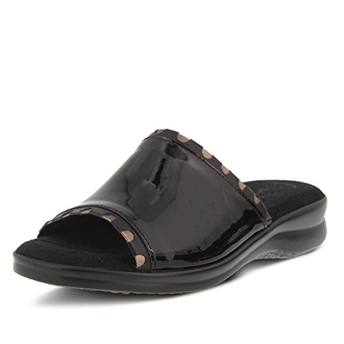 M Slide Cubby Pewter Spring Leather Patent Trimmed Step Women's Flexus Black Size 35 by xOZTYY