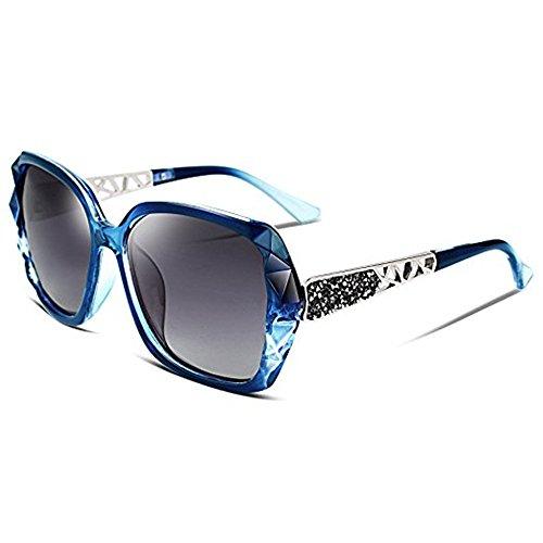 2018 Women Classic Oversized Polarized Sunglasses Fashion Modern Shades 100% UV Protection (Blue/Grey) ()