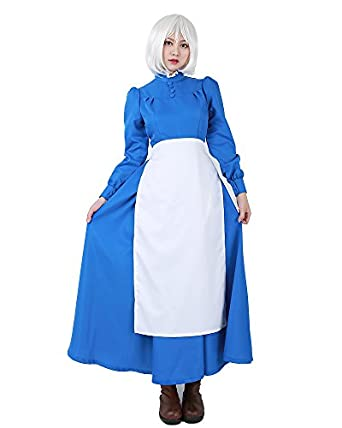 1900s, 1910s, WW1, Titanic Costumes Miccostumes Womens Sophie Blue Dress Cosplay Costume with White Apron $49.99 AT vintagedancer.com
