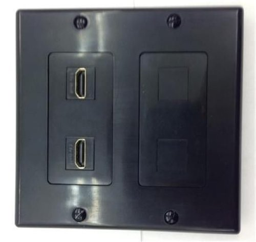 (CERTICABLE CUSTOM DESIGNED BLACK DOUBLE GANG WALL PLATE - 2 HDMI 1.4 PLUS 2 BLANK SPOTS FOR FUTURE EXPANSION)