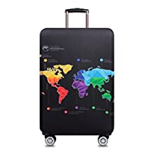 World Map Print Luggage Protector Cover Elastic Suitcase Cover Spandex Travel Luggage Cover L fit 25-28 inch Luggage