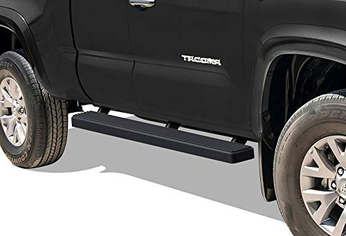 iBoard (Black Powder Coated 4 inches) Running Boards | Nerf Bars | Side Steps | Step Rails for 2005-2019 Toyota Tacoma Access Cab Pickup