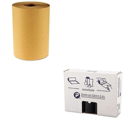 KITBWK6256IBSS404816K - Value Kit - IBS S404816K High Density Commercial Coreless Roll Can Liners, Black (IBSS404816K) and Boardwalk 6256 Natural Hardwound Roll Paper Towels, 8quot; x 800' (BWK6256) by Inteplast Group