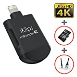 iKlips miReader Lightning / Micro USB 3 in 1 Portable MicroSD 4K Card Reader External Memory Storage Charger, Store View Edit Record 4K Video From GoPro, Drones, Camera, 128GB micro sd card included