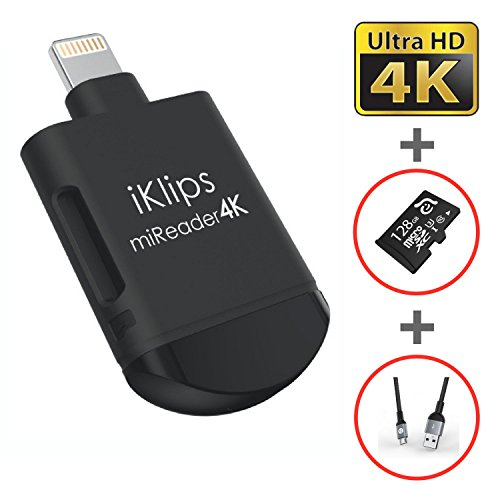 iKlips miReader Lightning / Micro USB 3 in 1 Portable MicroSD 4K Card Reader External Memory Storage Charger, Store View Edit Record 4K Video From GoPro, Drones, Camera, 128GB micro sd card included by Adam Elements