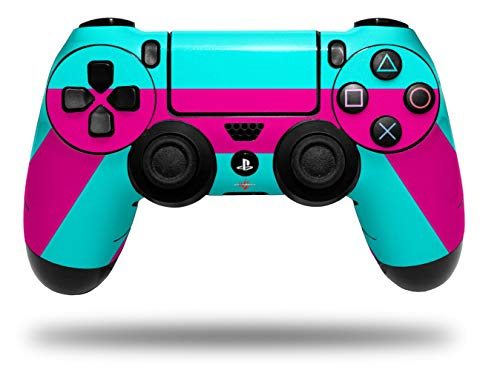 Vinyl Decal Skin Wrap compatible with Sony PlayStation 4 Dualshock Controller Psycho Stripes Neon Teal and Hot Pink (PS4 CONTROLLER NOT INCLUDED)