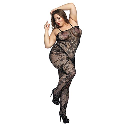 Deksias Crotchless Bodystocking Plus Size Open Crotch Lingerie (Black)