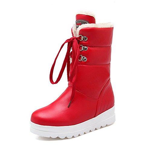 VogueZone009 Damen Blend-Materialien Schnüren Niedriger Absatz Niedrig-Spitze Stiefel, Rot, 35