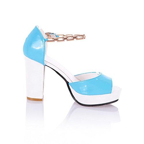 Amoonyfashion Donna Open Peep Toe Tacco Alto Piattaforma Pu Pu Sandali Solido Con Metalornament Blu