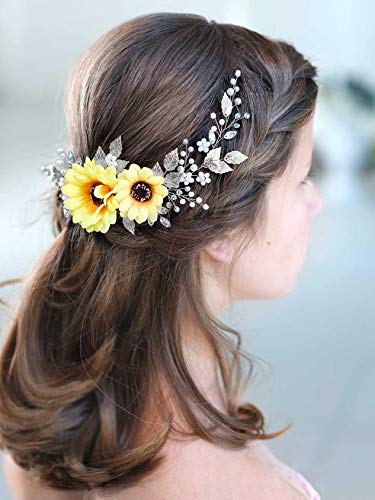 Aukmla Bride Wedding Hair Vine Sunflower Hair Accessories Crystal Hair Piece Decorative for Women and Girls (Silver)