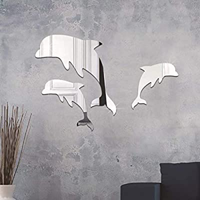 Dolphin Wall Stickers Bathroom Wall Art Decals Home Decor Mirror Effect Stickers-Silver