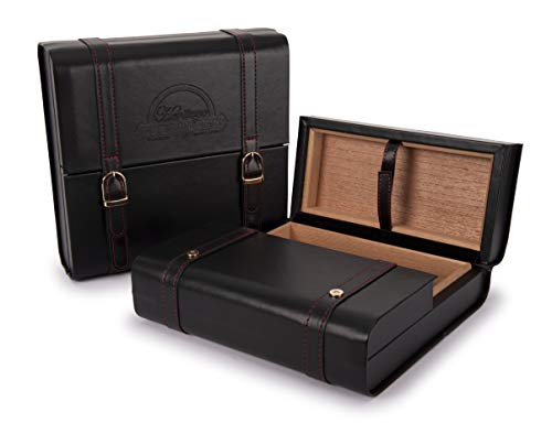 Cubanacan Heritage - Travel Cigar Humidor - Black Leather - 3 Section - 15-20 Capacity - Tri-Fold Box Style