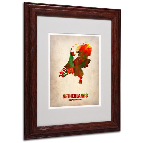 Netherlands Watercolor Map by Naxart Matted Framed Art, 11 by 14-Inch, Wood Frame from Trademark Fine Art
