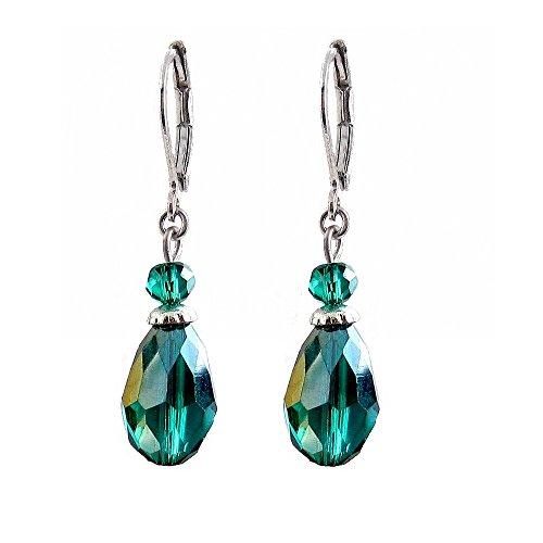 Glass Oval Drop Earrings - Green Blue Teal (E554)