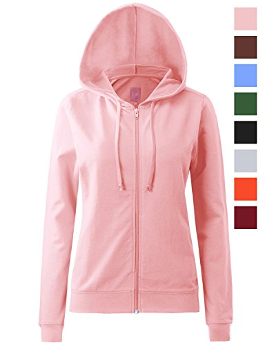 Regna X Womens Long Sleeve With Kangaroo Pocket Full Zip Hoodie Pink M
