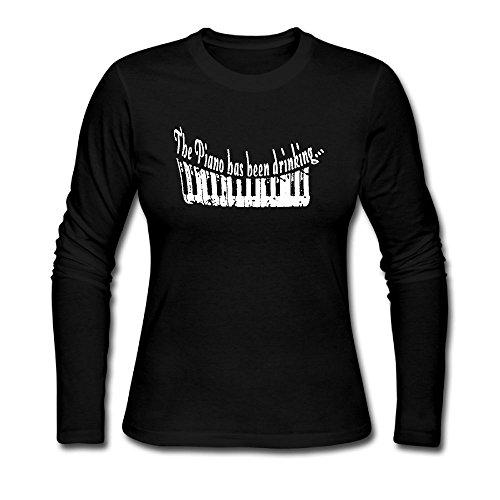 RUIZITS Lady Round-Neck Screw Neck Piano Long Sleeve Shirt Great