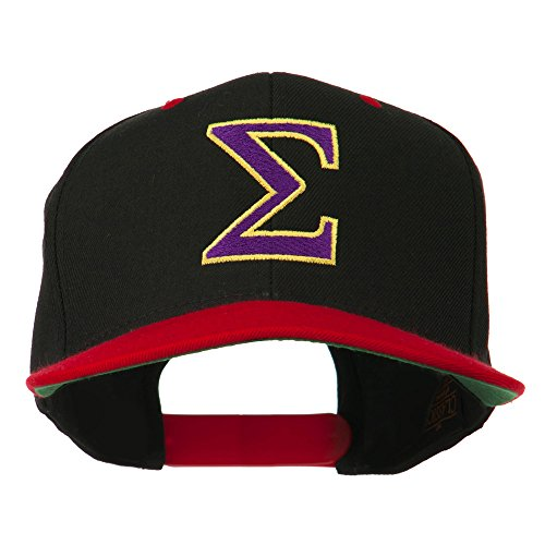(Greek Alphabet SIGMA Embroidered Two Tone Cap - Black Red OSFM)