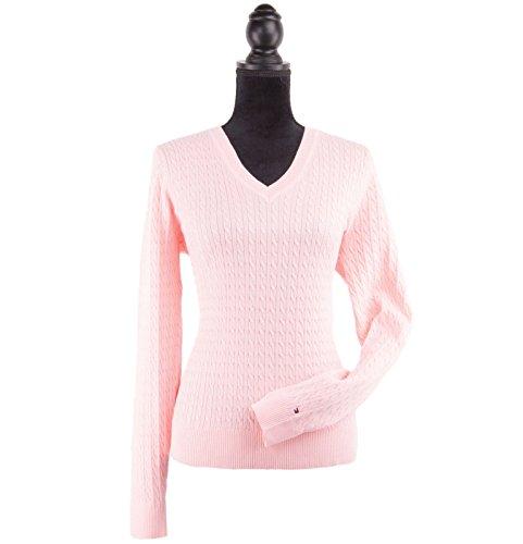 15962a40c35 Tommy Hilfiger Womens V-Neck Sweater (Large, Pink)