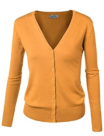BIADANI Women Button Down Long Sleeve Soft V-Neck Cardigan Sweater Yellow Small