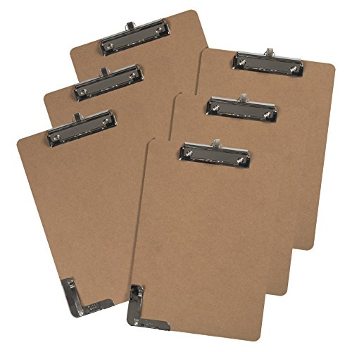 Letter Size Clipboard Low Profile Clip (Pack of 6) Secure Clip with Pen Holder and Large Mouth Hanging Hook 9''x12.5