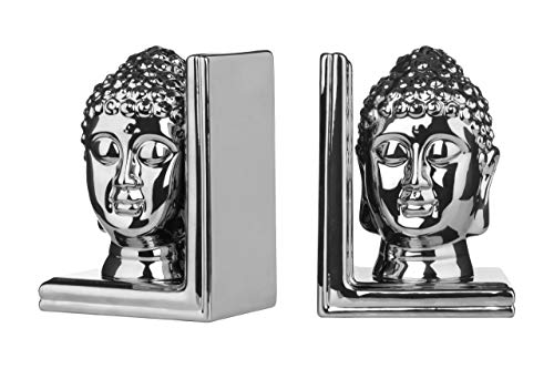 (Premier Housewares Buddha Head Bookend Ceramic - Set Of 2, Silver)