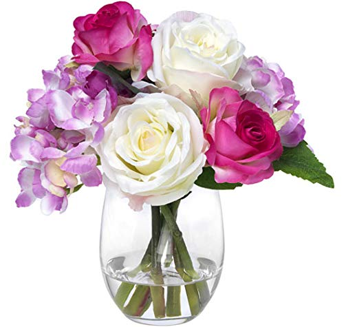 - Blooms by Diane James Faux Mixed Pink Bouquet in Glass Vase