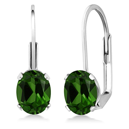 Gem Stone King 1.60 Ct Oval Green Chrome Diopside 925 Sterling Silver Leverback Earrings