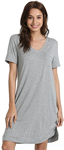 GYS Women's Short Sleeve V Neck Bamboo Nightgown, Heather Grey, L - Moisture Wicking Nightgown