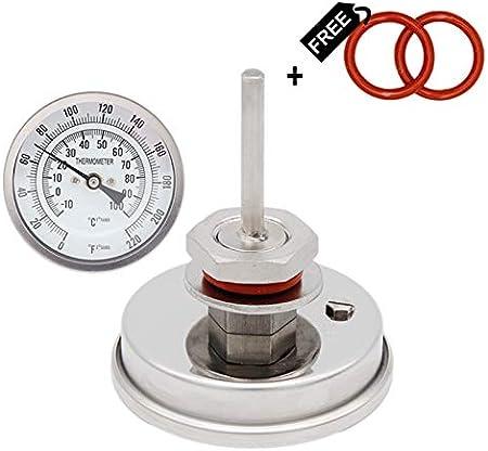 """Termómetro de esfera de homebrew termómetro - 3""""cara x 2.5"""" Probe 1/2""""NPT 0-220 F Hervidor de cerveza haz tu propia cerveza (Color : Thread)"""