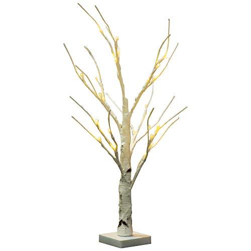 Lámpara LED de abedul plateada, ramas blancas duraderas para interiores y exteriores, luz blanca cálida, diseño de árbol...