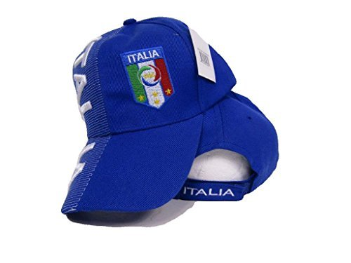 Italy Italian Italia Country Blue Embroidered Letters Flag Crest Hat Cap 3D